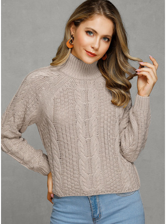 Cable-knit Solid Turtleneck Pullovers Sweaters