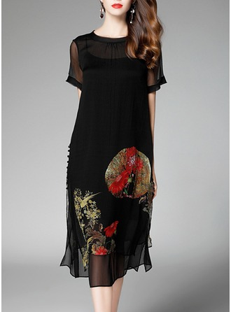 Silk With Print Knee Length Dress (Two Pieces )