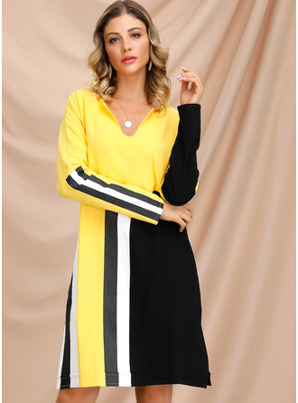 Spandex/Acrylic With Color-block/Slit Knee Length Dress