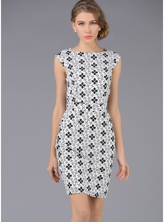 Polyester/Lace With Print Above Knee Dress