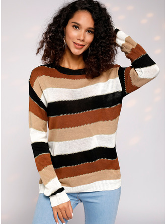 Color Block Cable-knit Polyester Round Neck Svetry Svetry