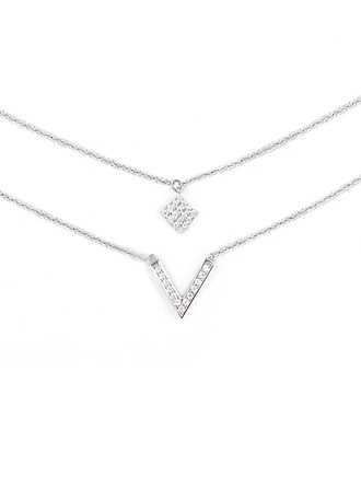 Silver Cubic Zirconia Multiple Charm Necklace For Women For Girlfriend