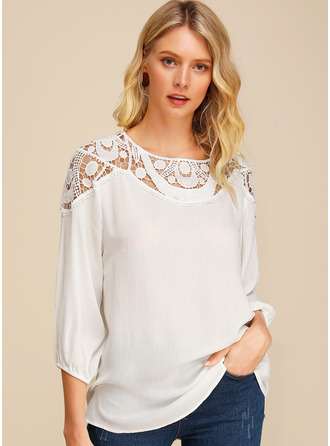 3/4 Sleeves Cotton Round Neck ()