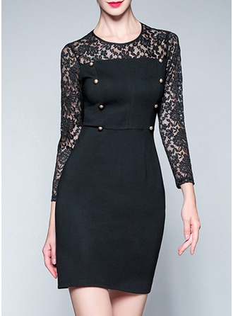 Polyester With Lace/Stitching/Hollow Above Knee Dress