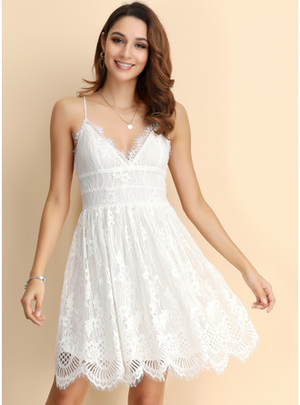 Spaghetti Straps Lace Polyester Dresses