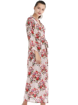 Bride Bridesmaid Cotton With Ankle-Length Floral Robes
