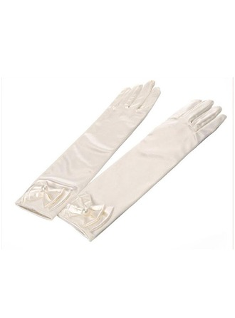 Elastic Spandex Elbow Length Glove With Imitation Pearls/Bow