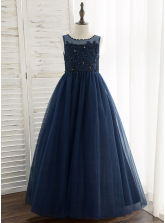 Floor-length Flower Girl Dress - Tulle Lace Sleeveless Scoop Neck