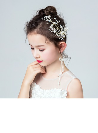 Rhinestones With Flower Headbands/Earrings (Set of 3)