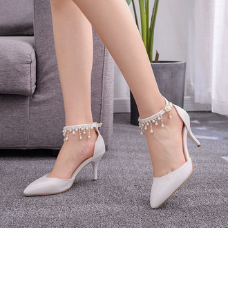 Women's Leatherette Stiletto Heel Closed Toe Pumps Sandals MaryJane With Imitation Pearl Tassel Chain