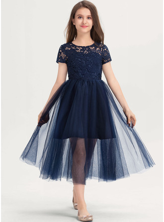Scoop Neck Tea-Length Tulle Lace Junior Bridesmaid Dress