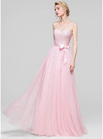 A-Line/Princess Sweetheart Floor-Length Tulle Bridesmaid Dress With Sequins Bow(s)