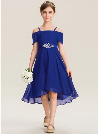 Square Neckline Asymmetrical Chiffon Junior Bridesmaid Dress With Beading Bow(s)