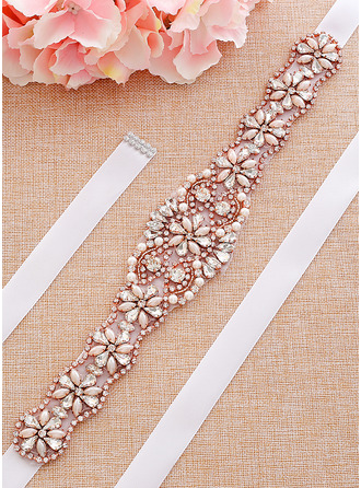 Exquisite Satin Sash With Rhinestones/Imitation Pearls