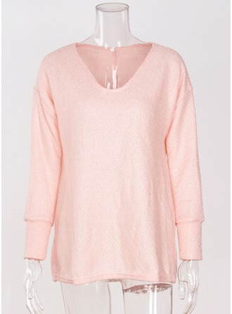 Plain Acrylic V-neck Sweater Sweaters