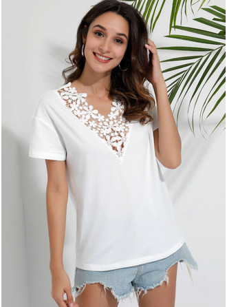 Short Sleeves Polyester V Neck Blouses