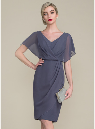 Sheath/Column V-neck Knee-Length Chiffon Mother of the Bride Dress