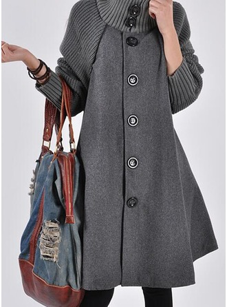 Wool Long Sleeves Plain Blend Coats ()