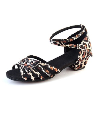 Kids' Silk Sandals Modern Jazz Ballroom Salsa Party Tango With Ankle Strap Dance Shoes