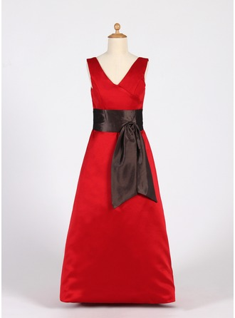 A-Line/Princess V-neck Floor-Length Satin Junior Bridesmaid Dress With Sash
