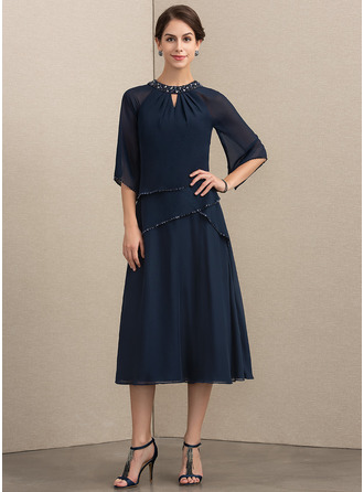 Scoop Neck Tea-Length Chiffon Mother of the Bride Dress