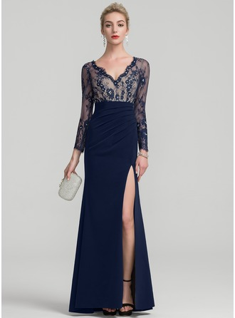 Sheath/Column V-neck Floor-Length Satin Evening Dress With Beading Sequins