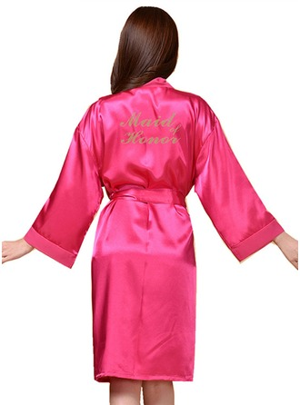Personalized Bride Bridesmaid charmeuse With Knee-Length Personalized Robes