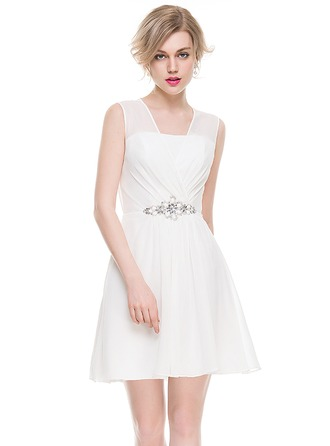 A-Line/Princess V-neck Short/Mini Chiffon Cocktail Dress With Ruffle Beading Sequins