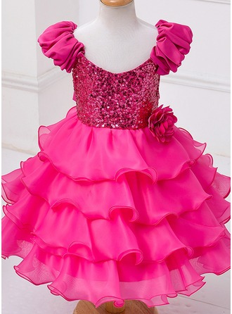 Ball Gown Knee-length Flower Girl Dress - Tulle/Polyester Short Sleeves Scoop Neck With Flower(s)/Sequins/Bow(s)
