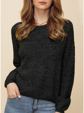 Cable-knit Solid Acrylic Polyester Round Neck Pullovers Sweaters