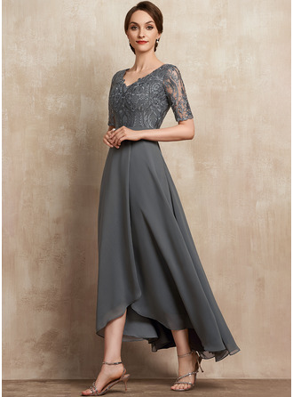 V-neck Asymmetrical Chiffon Lace Mother of the Bride Dress