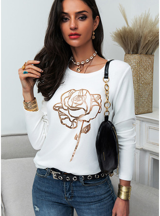 Regular Cotton Blends Round Neck Floral Print Fitted Blouses