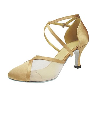 Women's Satin Heels Pumps Modern Ballroom With Ankle Strap Dance Shoes