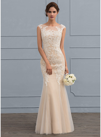 Trumpet/Mermaid Scoop Neck Floor-Length Tulle Lace Wedding Dress
