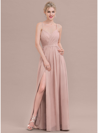 Sweetheart Floor-Length Chiffon Prom Dresses With Ruffle Split Front