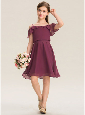 Square Neckline Knee-Length Chiffon Junior Bridesmaid Dress With Bow(s) Cascading Ruffles