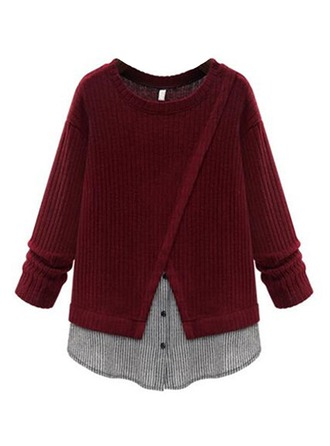 Color Block Cotton Round Neck Sweater Sweaters