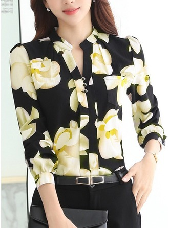 Print Long Sleeves Chiffon V Neck Shirt Blouses Blouses