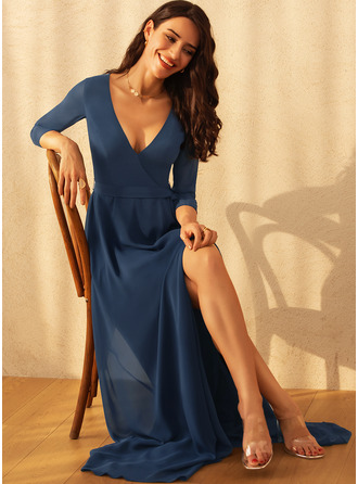 V-Neck 3/4 Sleeves Maxi Dresses