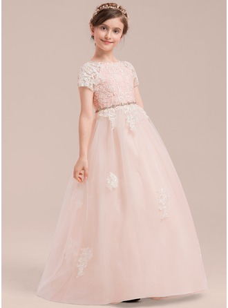 Floor-length Flower Girl Dress - Tulle Lace Short Sleeves Scoop Neck With Beading