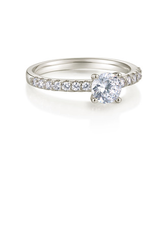 Sterling Silver Cubic Zirconia Dainty Milgrain Round Cut Engagement Rings Promise Rings -