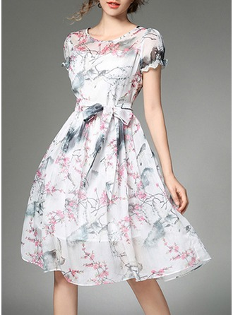 Georgette With Bowknot/Print/Ruffles Knee Length Dress