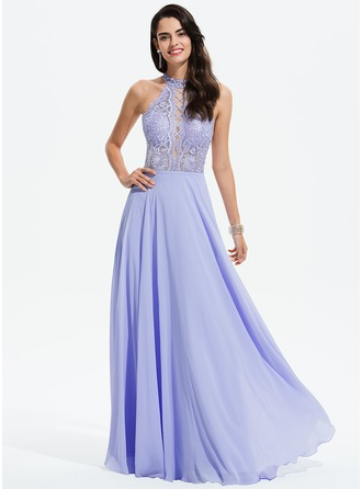 Scoop Neck Floor-Length Chiffon Prom Dresses
