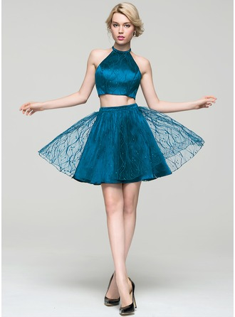 A-Line/Princess Scoop Neck Short/Mini Tulle Lace Homecoming Dress