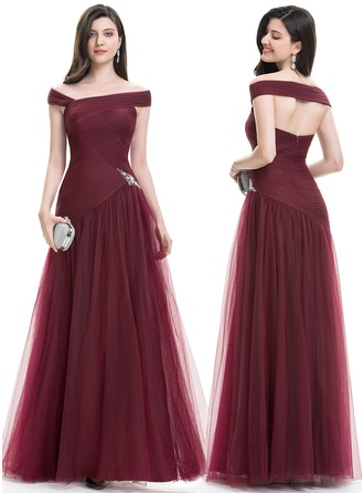 A-Line/Princess Off-the-Shoulder Floor-Length Tulle Evening Dress With Ruffle Beading Sequins