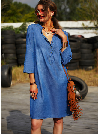 Solid Shift V-Neck Long Sleeves Midi Denim Casual Tunic Dresses