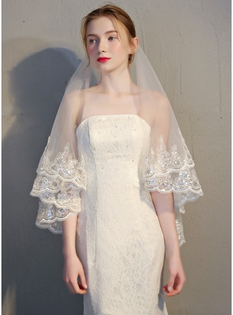 Two-tier Lace Applique Edge Fingertip Bridal Veils