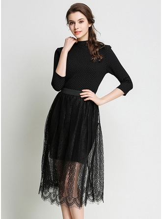 Polyester/Lace mit Stitching Midi Kleid