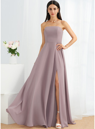 A-Line Strapless Floor-Length Bridesmaid Dress With Split Front