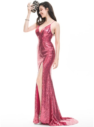 Sheath/Column V-neck Sweep Train Sequined Prom Dress With Split Front